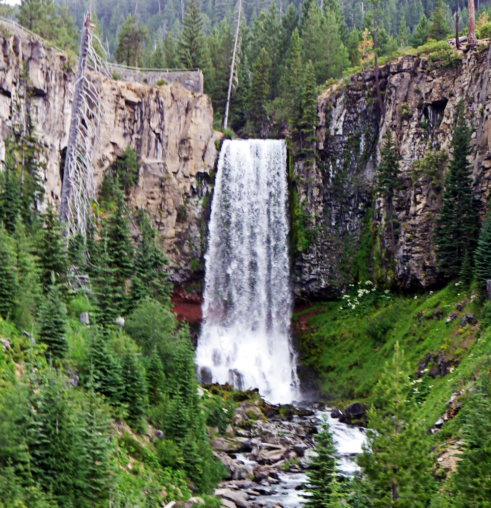 First view of Tumalo Falls as you drive into the trailhead parking area