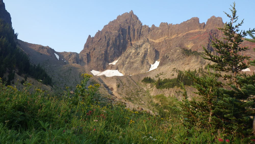 Three Fingered Jack seen from Canyon Creek Meadow