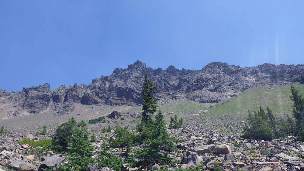 The summit of Three Fingered Jack from the west flank scree field (click for larger image)