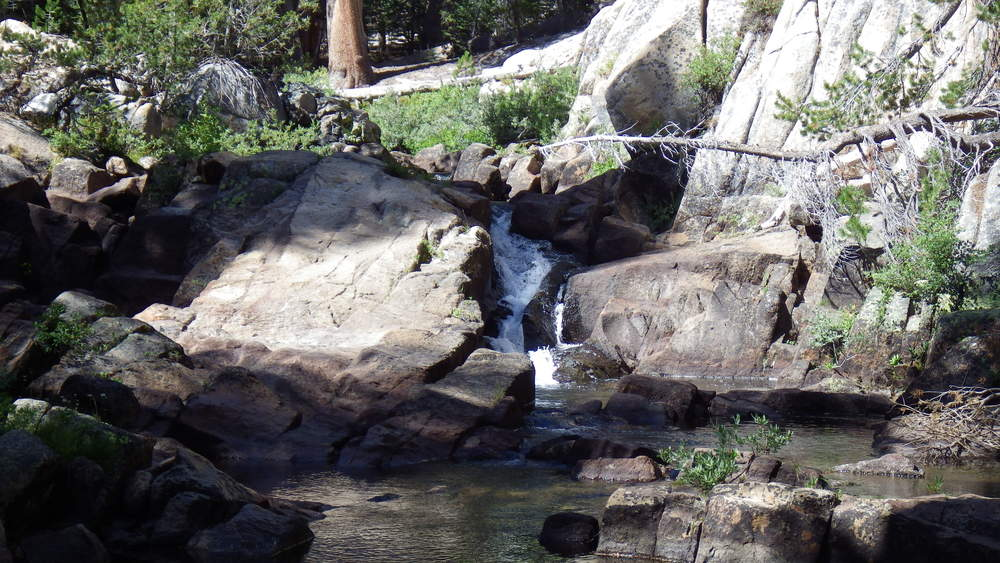 Small waterfall in Minaret Creek at our first campsite