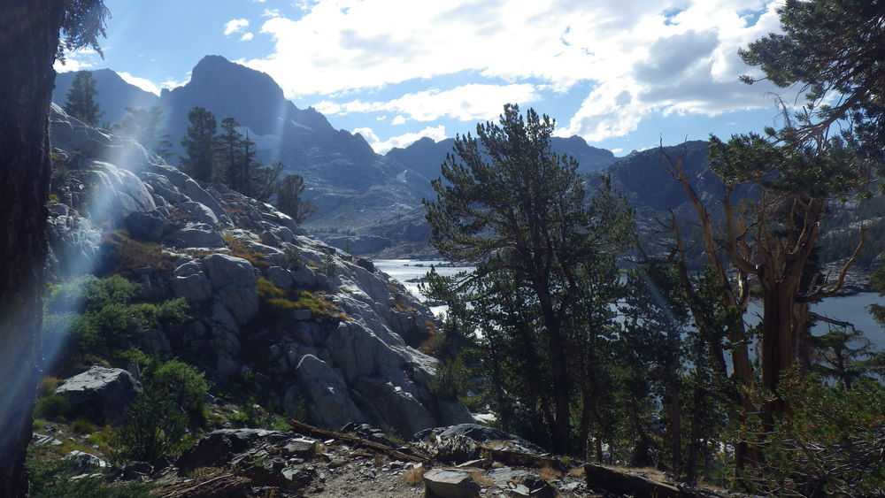 A glimpse of Garnet Lake with Banner Peak in the background