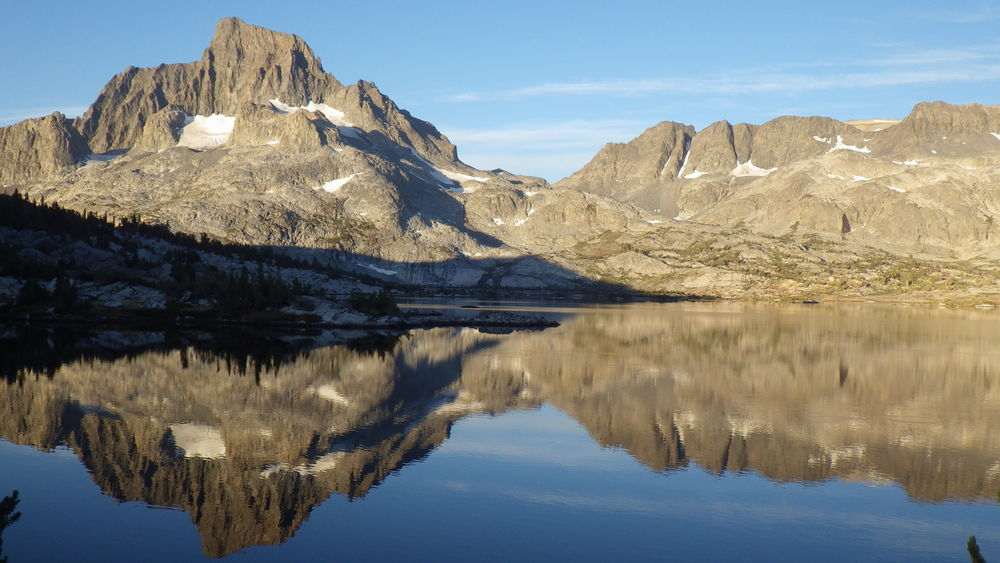 Banner Peak and Mount Davis reflecting in Thousand Island Lake in the morning light