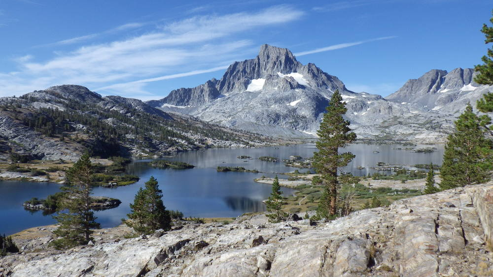 Looking back at Thousand Island Lake and Banner Peak