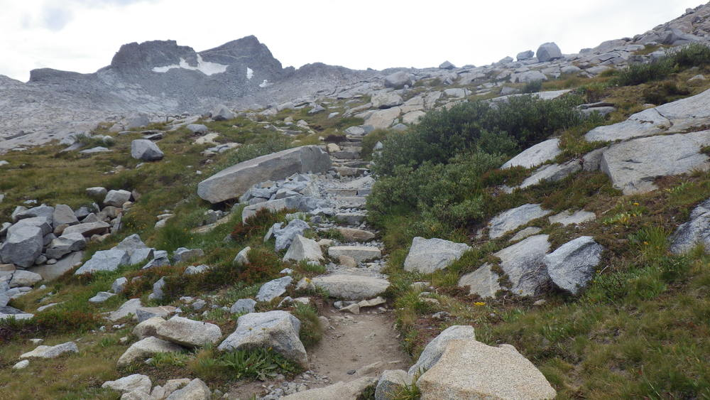 A stairway on the ascent to Donahue Pass