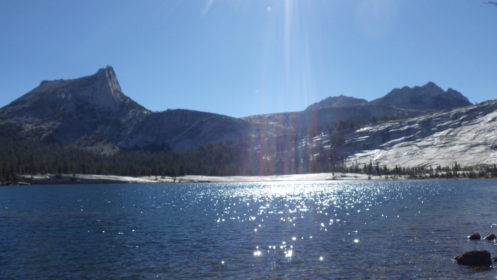 Lower Cathedral Lake sparkling under the early morning sunlight
