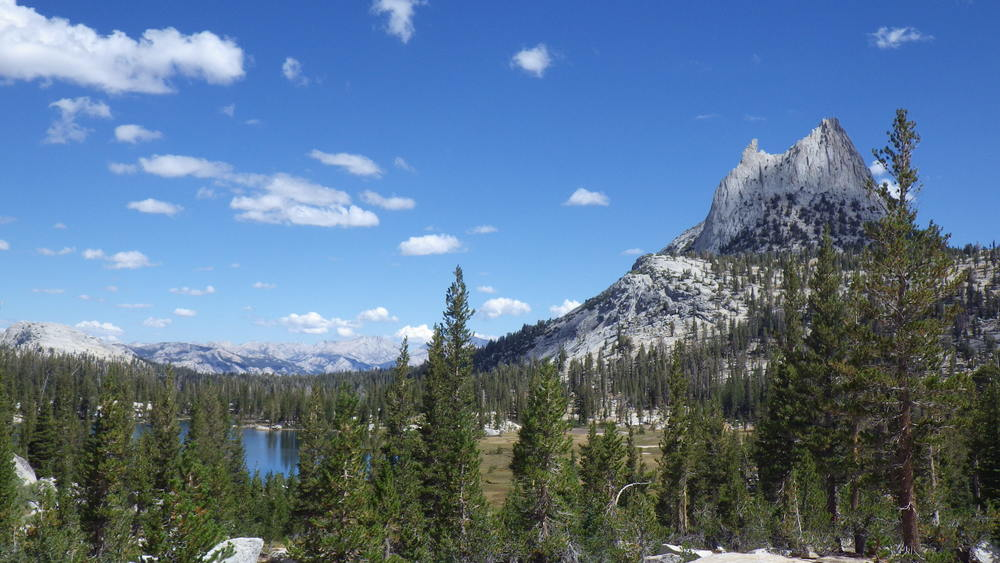 Cathedral Peak towering over Upper Cathedral Lake