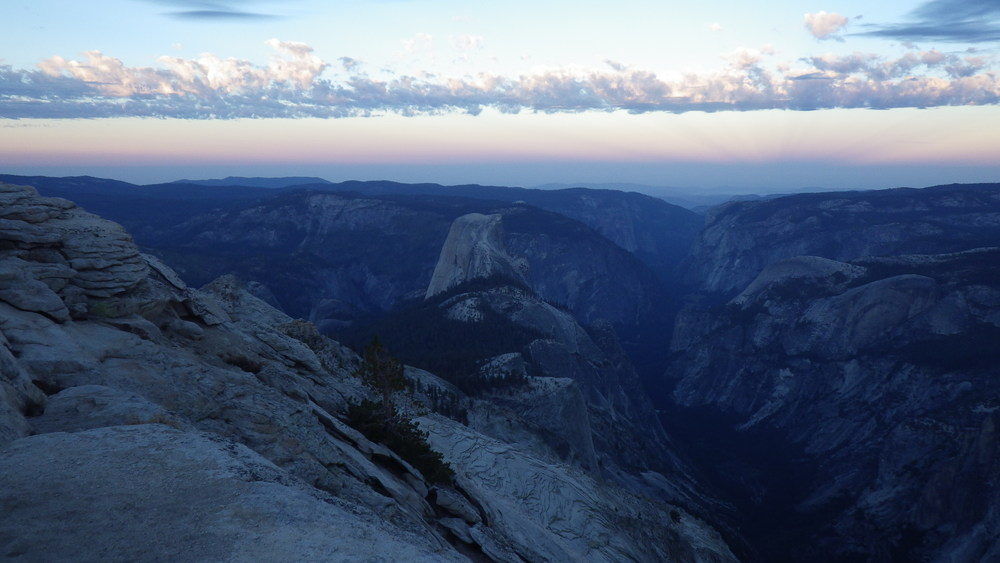 Half Dome and Yosemite Valley just before sunrise