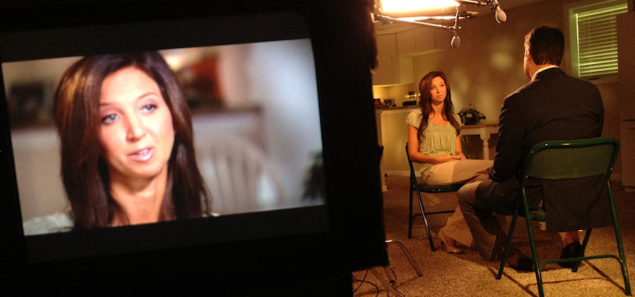 A behind the scene photo from a Dateline NBC shoot Chenese worked on.