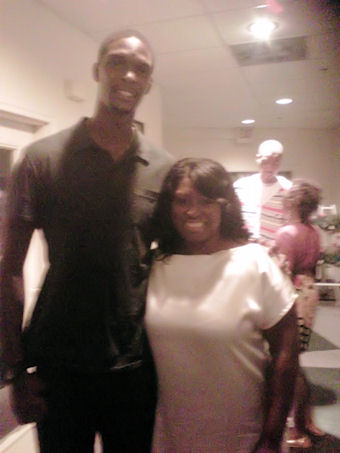 It's a family reunion!  Me with my cousin Chris Bosh of Miami Heat.