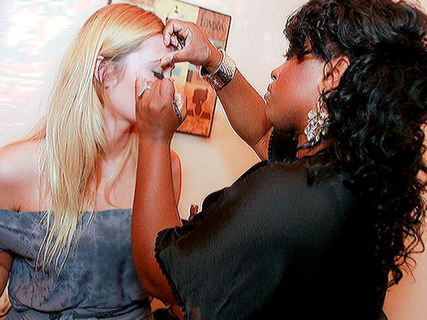 henese getting Althea Harper of Project Runway (season 6) ready for her trunk show event at Paris J Boutique