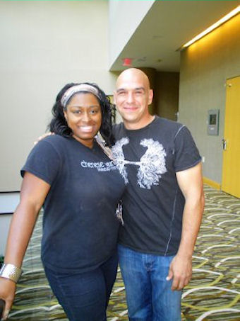 """ith celebrity chef Michael Symon at set for Food Feuds on the Food Network """" Greater's  vs.  Aglamesis """""""
