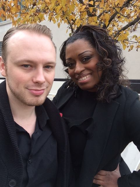 On location doing a beauty event at P&G with makeup artist & hair stylist Phillip (Nathan) Saunders