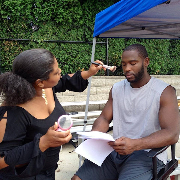 On set with Pierre Garcon with the Washington Redskins for a game app sponsored by Pepsi