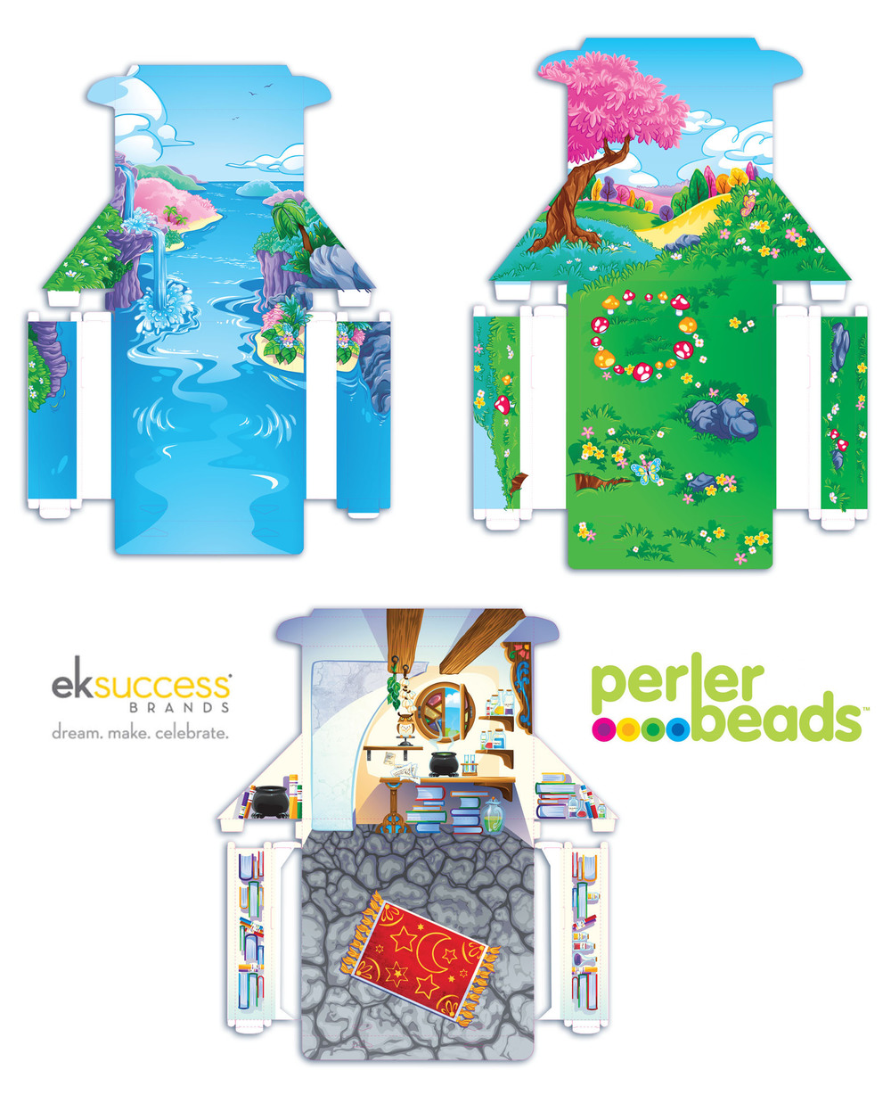PERLER BEAD CONVERTIBLE BOX PLAY SET   Box play set Package.   Mermaid lagoon, Fairy glen, Wizards' den. Each backdrop was printed on the inside of the box. They could be pulled apart, reversed and set up as a play set display / backdrop.