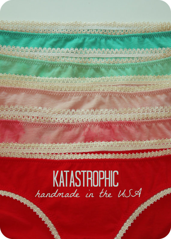 Ethical Undies:  Austin, TX designer Katastrophic creates handmade undies for all. Not only super hot, they're made in the USA, with organic cotton and a dash of rock and roll.  katastrophicdesign.etsy.com