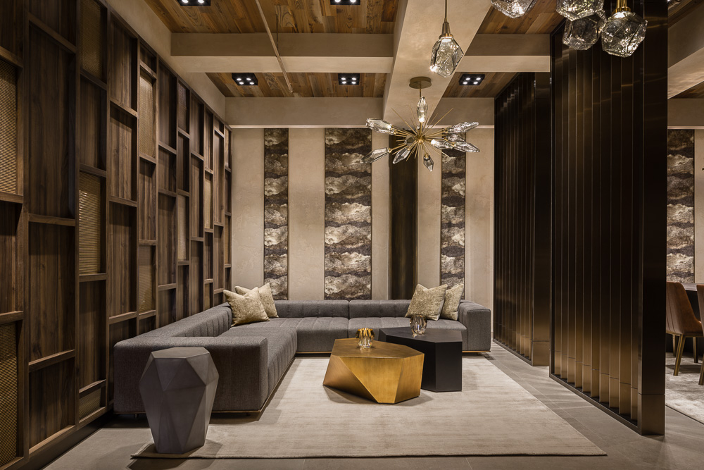 Lounge area at Avi & Co showroom designed by Seed Design New York