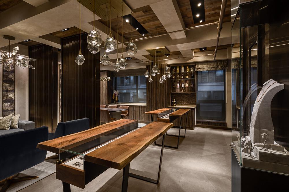 Custom tabletopdisplays at Avi & Co showroom designed by Seed Design New York