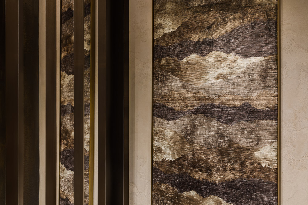 Details of the walls at Avi & Co showroom designed by Seed Design New York