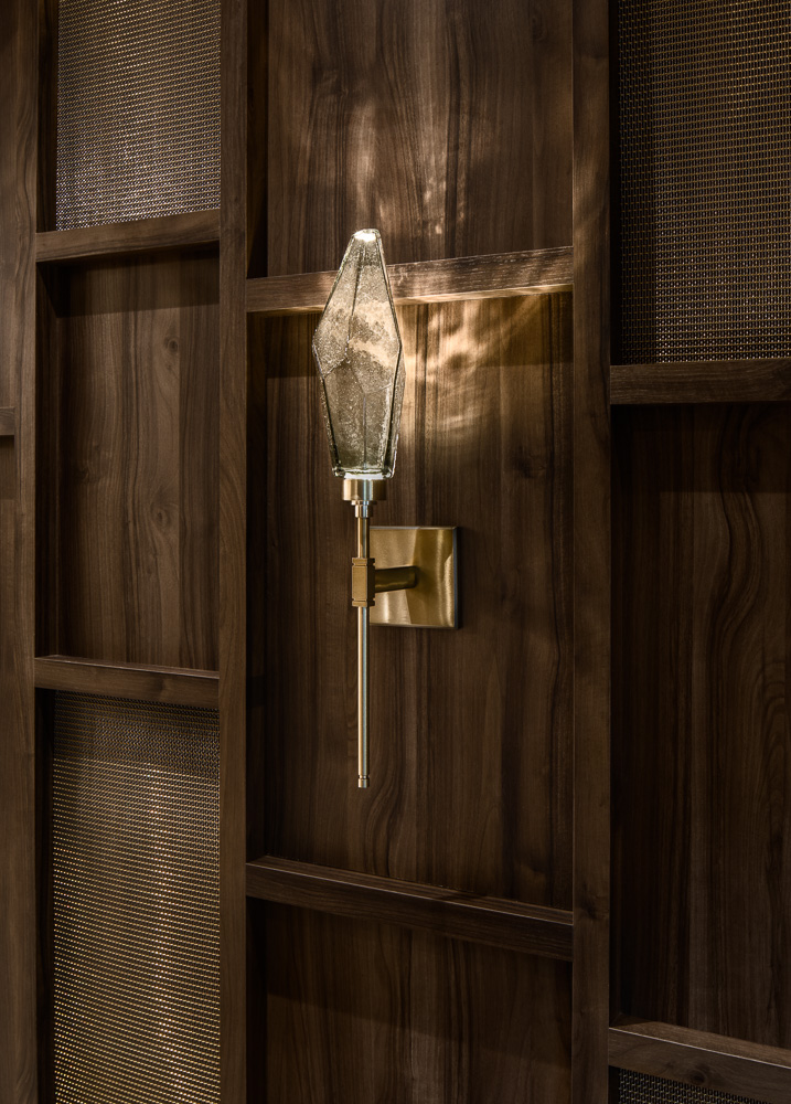 Details of the custom made lights at Avi & Co showroom designed by Seed Design New York