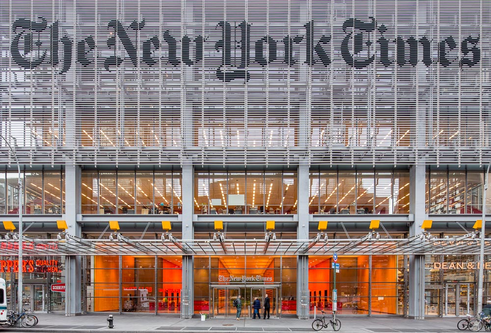 The New York Times building in Manhattan