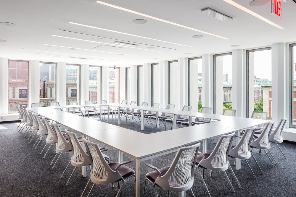 Conference room setup at Columbia Law School