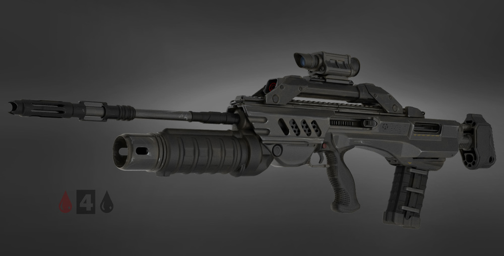 assault rifle zbrush study