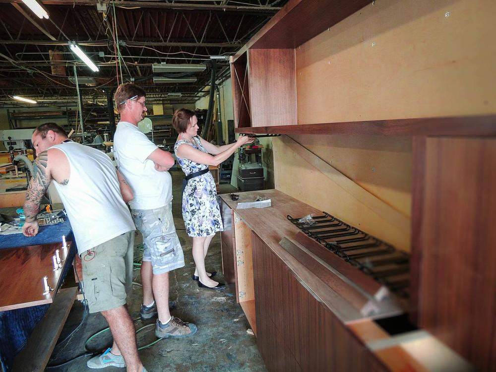Interior Designer Austin TX Robin Colton Studio Evaluating Custom Furniture Build