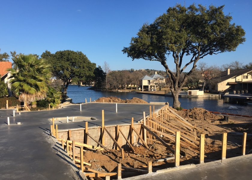 The foundation of a new construction project Robin Colton Studio is designing in Horseshoe Bay, Texas.