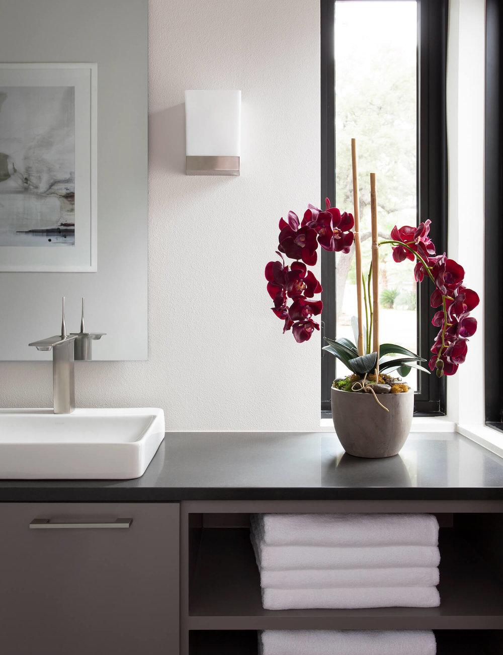 Robin Colton Interior Design Studio Horseshoe Bay Guest Bath Orchid