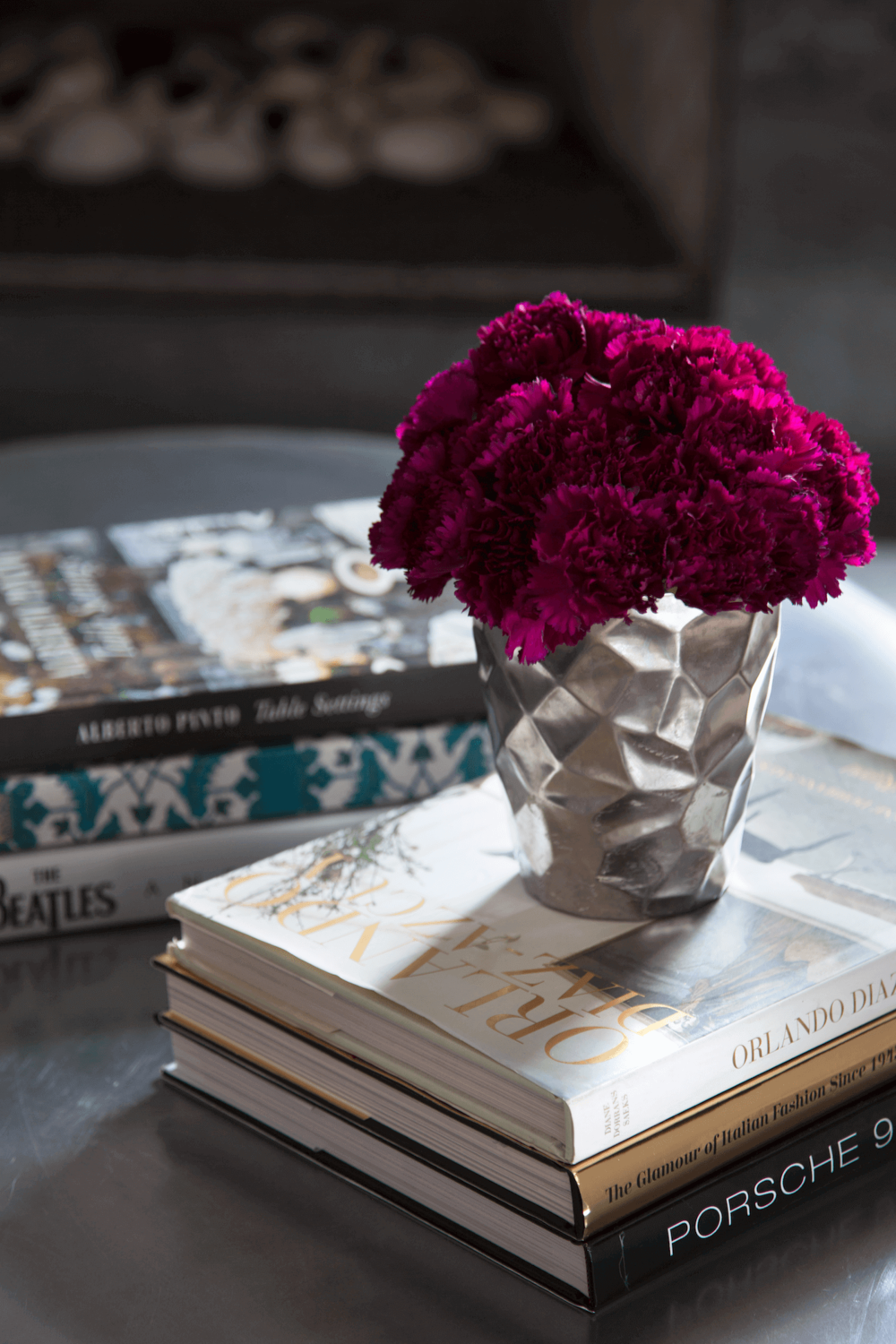 Robin Colton Interior Design Studio Austin Tarrytown Books and Flowers