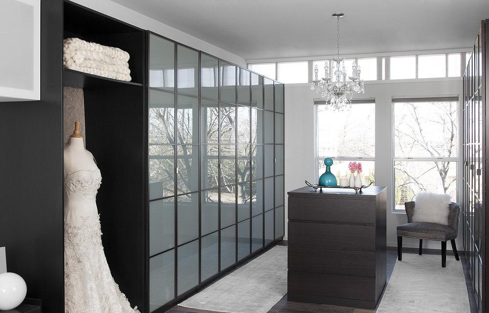 North Central Austin Condo Master Closet | Robin Colton Interior Design Studio Austin Texas | www.robincolton.com
