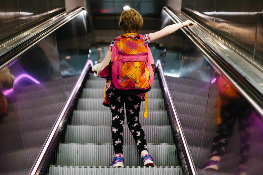 I go up this escalator every week, so she had a lot more enthusiasm about it than I do.