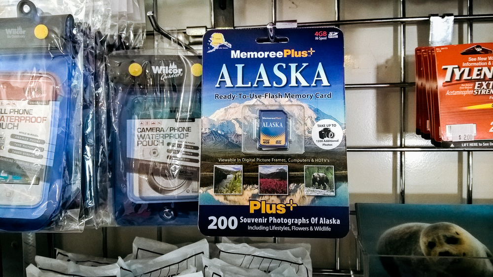 I thought it was funny they were selling this memory card that comes pre-loaded with 200 photos of Alaska in case you were bad at photography. (Shot with the Nokia Lumia 640 XL)