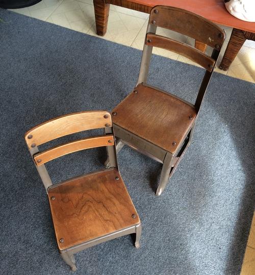 pair of vintage children school chairs dunepad