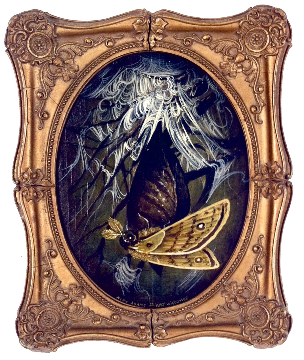 "Kurt Wiscombe & Alex Adams ""Birth of the Saturn Moth"" Acrylic on panel in antique frame 9.5x8 $600"