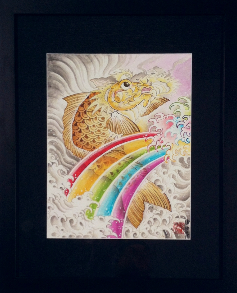 "Jill Bonny ""A dragon is born"" Watercolor on board 22.5x 18 $600"