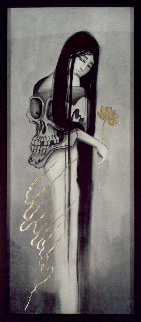 "Claudia Sabe ""Sorrow Passed & Plucked the Golden Blossom"" Mixed media & gold leaf on paper 31x14 $800"