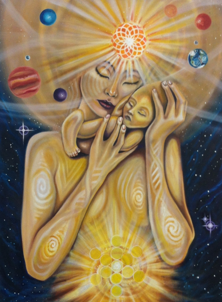 "Dillon Forte ""Celestial Mother"" Acrylic on canvas 30x22 $3600"