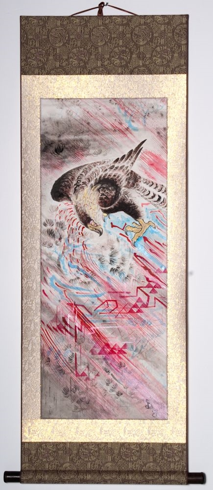"Hawk on the Rocks 46""x20"" $1600.00"