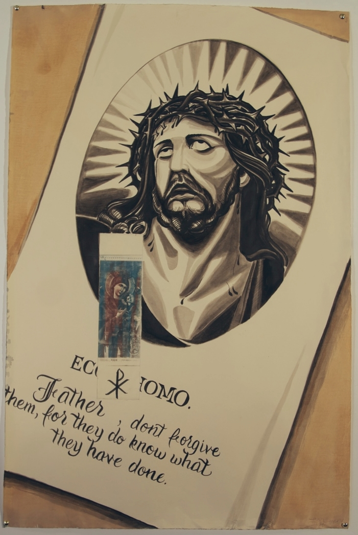 Holy Cards  India Ink, Acrylic, & Espresso on Found Paper 38 in. x 24 3/4 in. SOLD