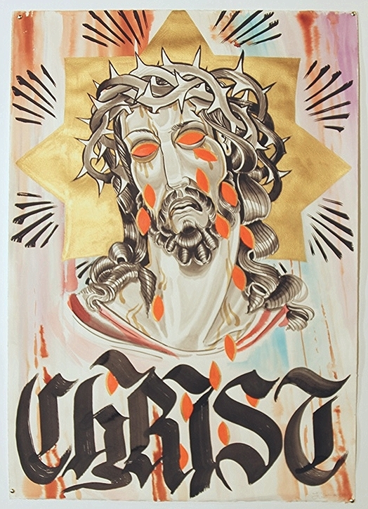 The Weeping Christ  India Ink, Acrylic, Watercolor, & Espresso on Paper 41 1/2 in. x 29 1/2 in. SOLD