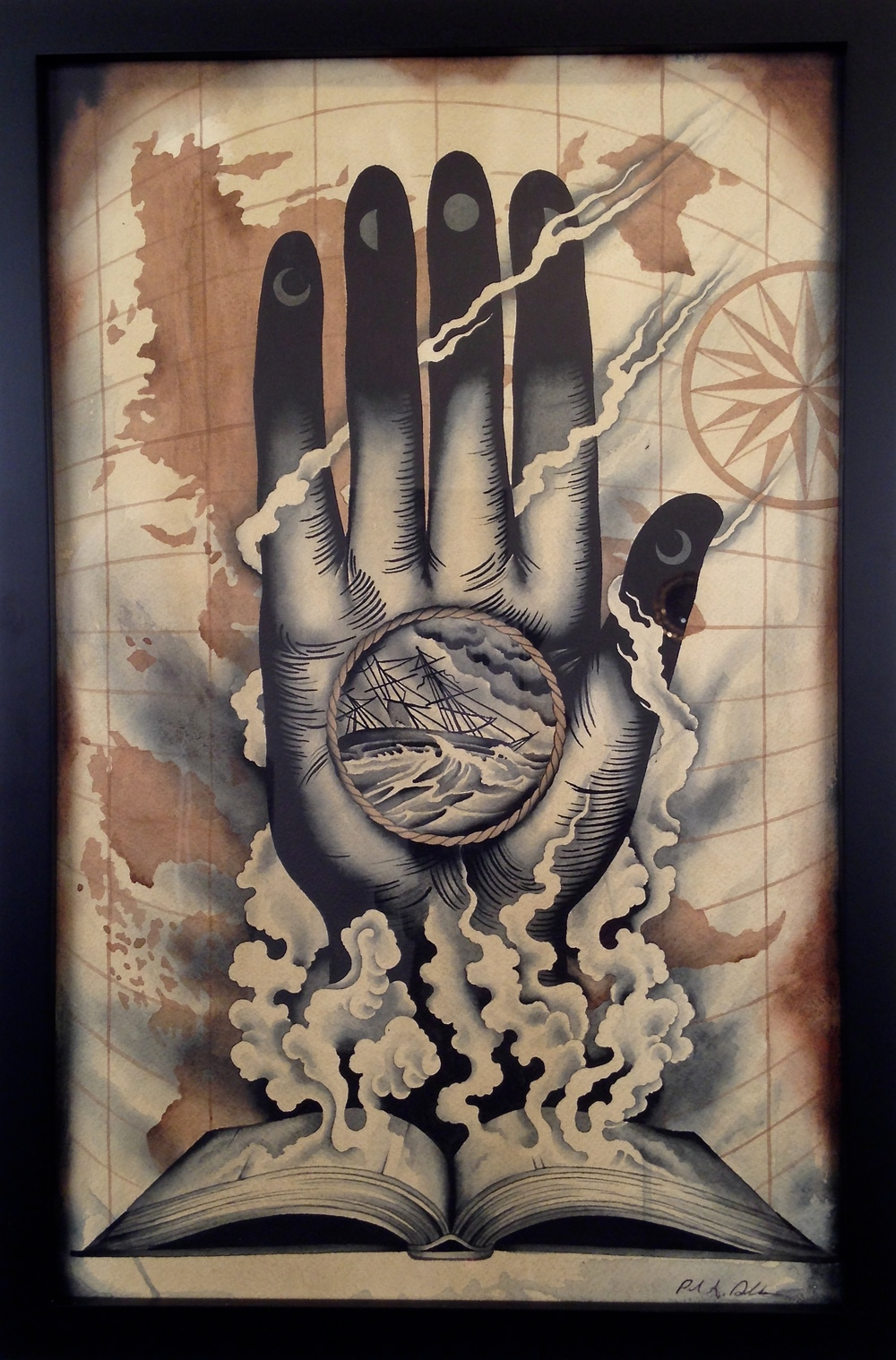 """Hand of Fate"" by P. Dobleman Watercolor on paper 18 in. x 12 in. framed $700"