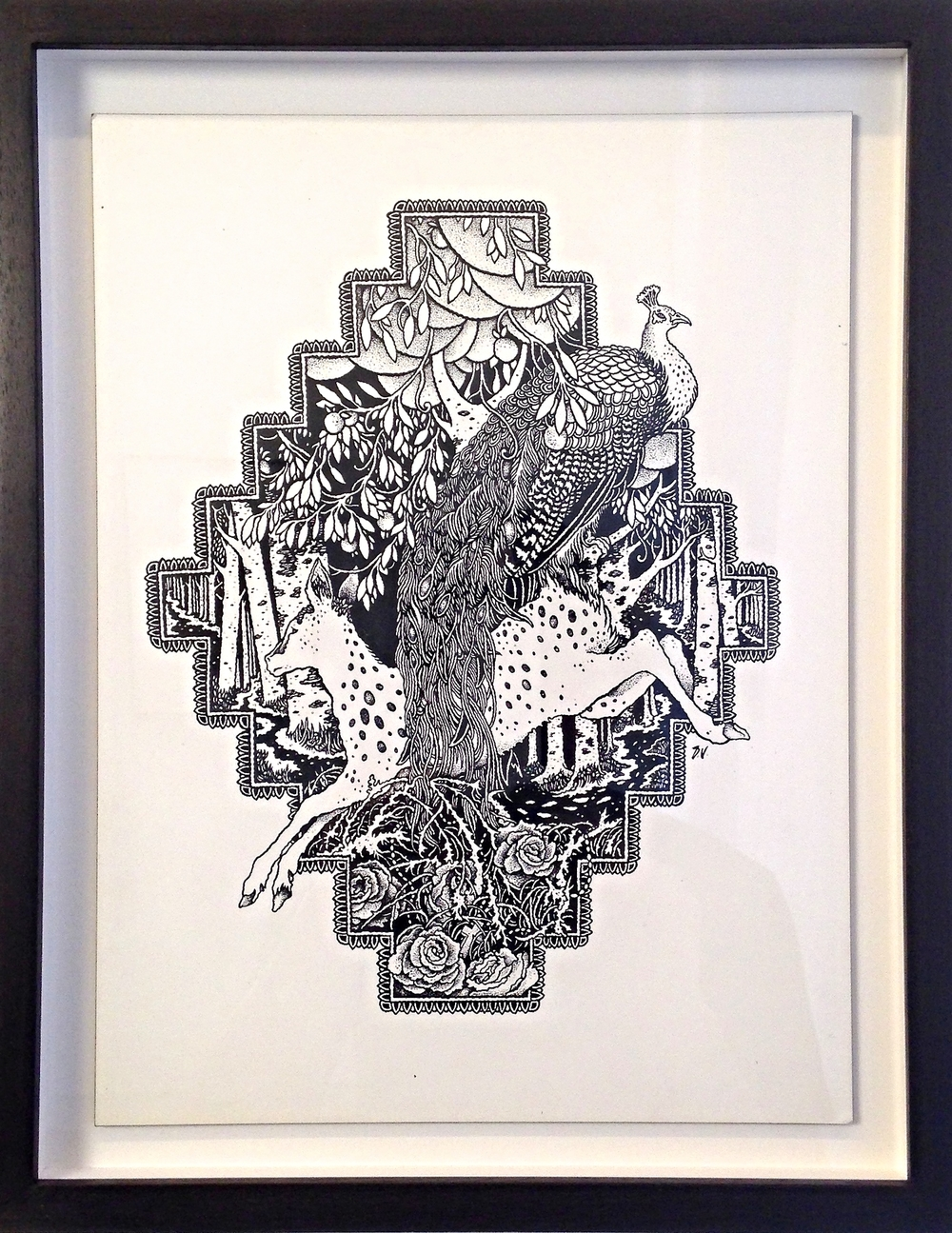 WOVEN HAND   India Ink on Wood Panel Framed 14 1/4 x 11 1/4  $1300  Unframed 12x9 $1200 Woven Hand at Roadburn Festival, Holland.