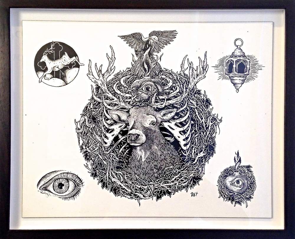 LUX INTERNA   India Ink on Wood Panel  Framed 13 1/4 x 16 1/4 $1625 Unframed 12x9 $1500 Lux Interna album cover & 4 vignettes.