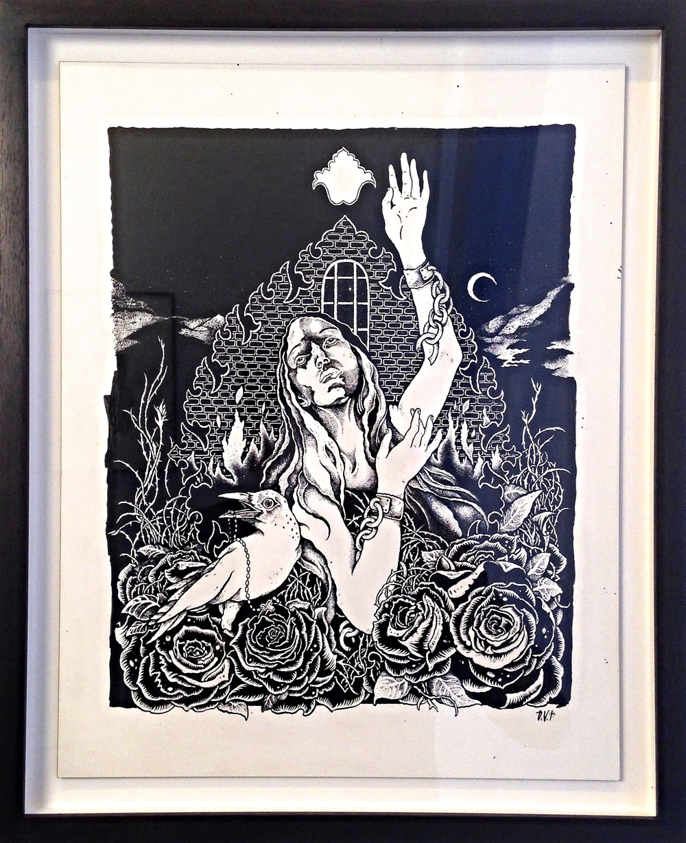 ANIMA SOLA   India Ink on Wood Panel Framed 16 1/4 x 13 1/4 Unframed 14x11 $1500 Originally for The Kills show poster.