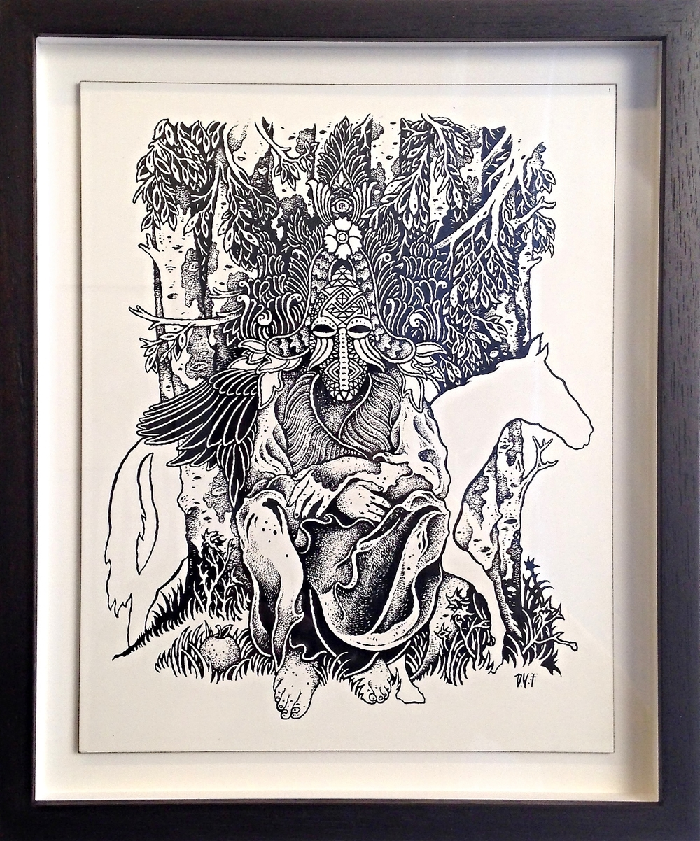 Grails   India Ink on Wood Panel Framed 12 1/4 x 10 1/4 $1300 Unframed !0x8 $1200 Originally for Grails tour poster.