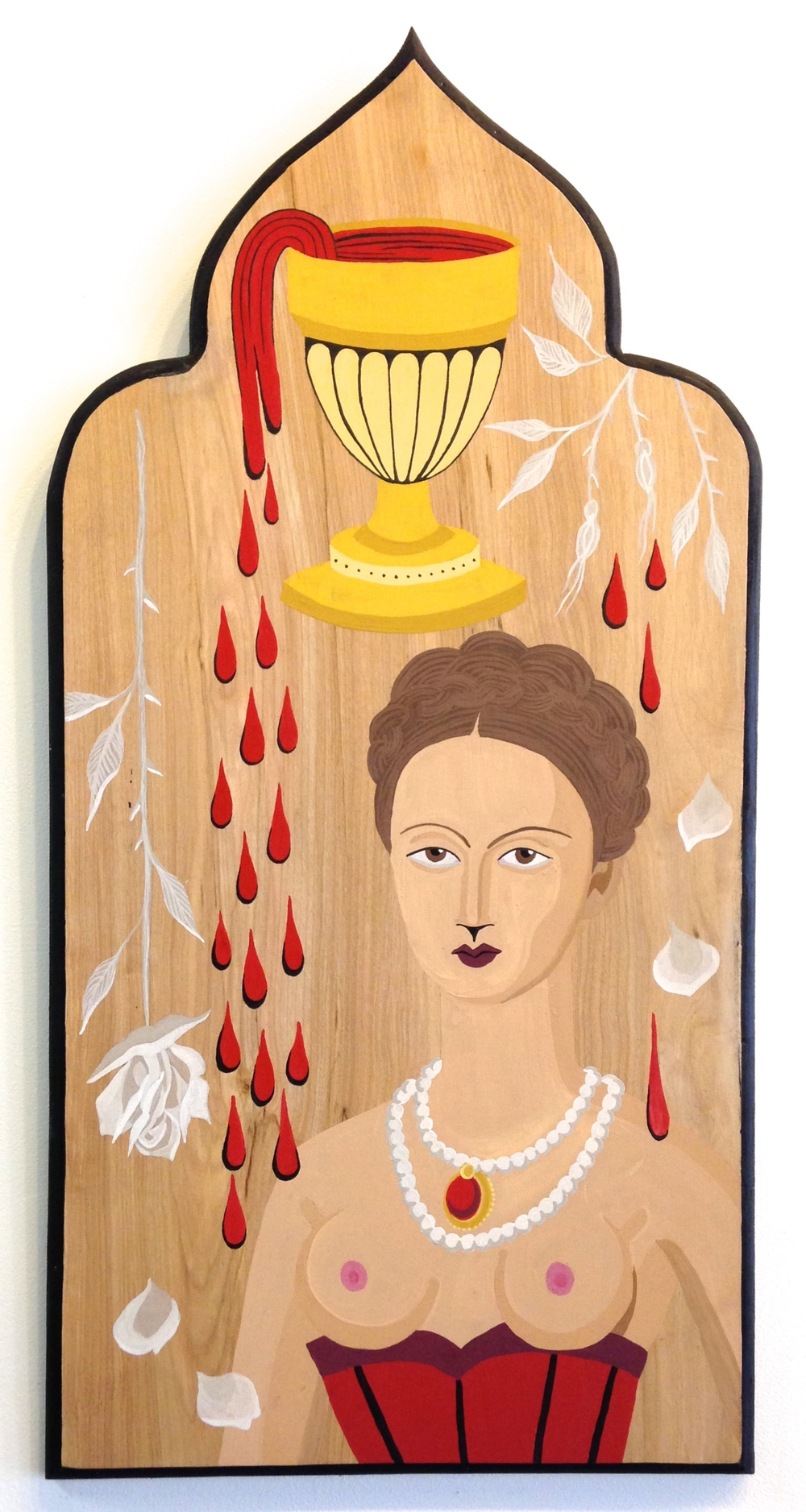 "Elizabeth Báthory  Gouache and Ink on wood board 14""x28"" SOLD"