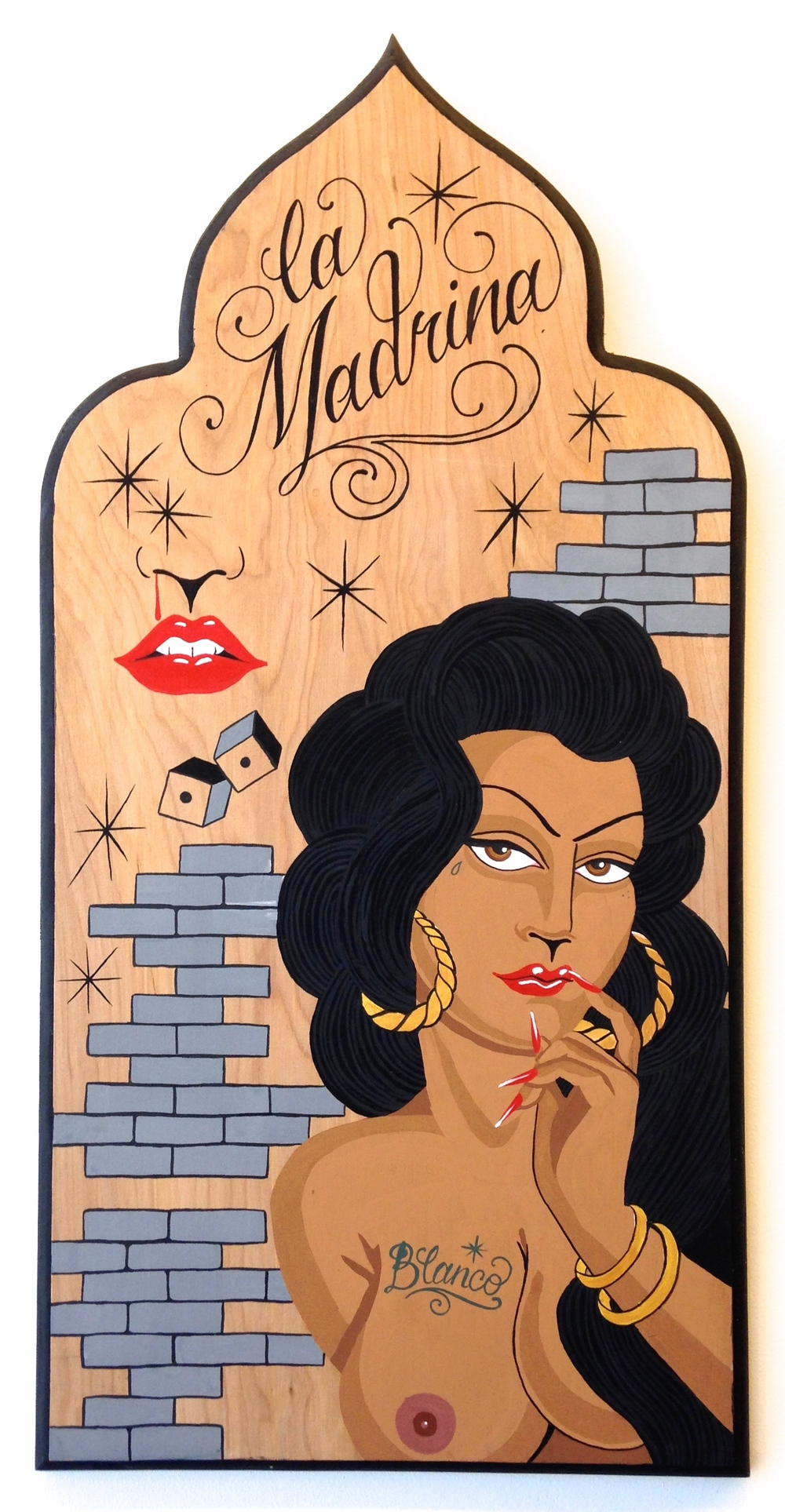 "Griselda Blanco  Gouache and Ink on wood board 14""x28"" SOLD"