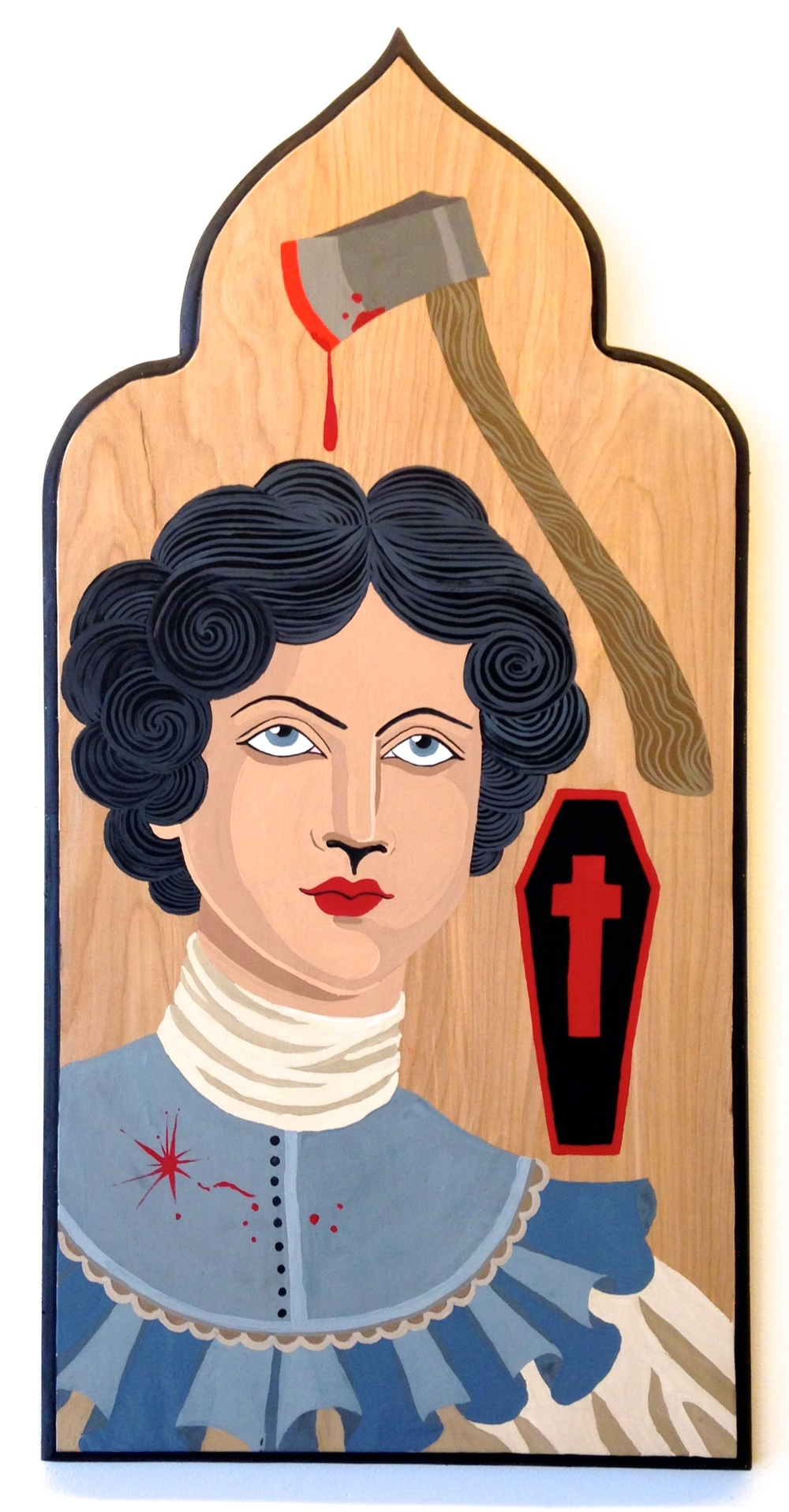 "Lizzie Borden  Gouache and Ink on wood board 14""x28""  SOLD"