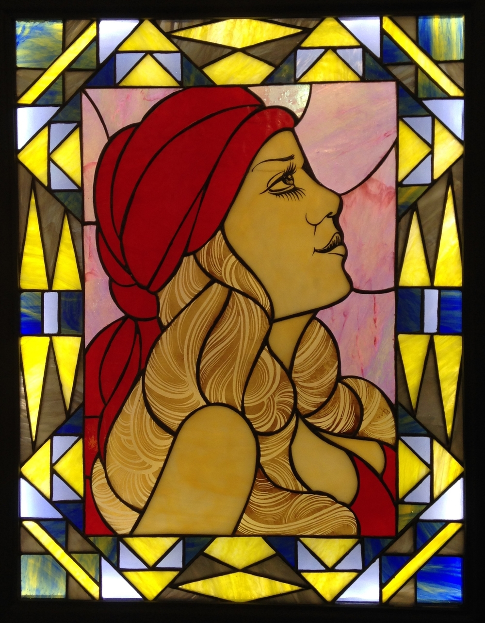 """LADY MYSTERIOSO"" 20""X26"" (SIZE OF GLASS ONLY) Foiled stained glass, kiln fired glass paint, & LED lights $2750"